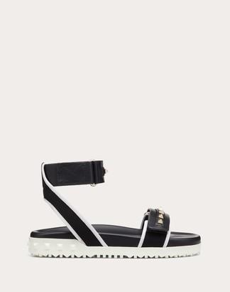 Valentino Rockstud Flat Canvas Sandal Women Rose Quartz 100% Cotone 37