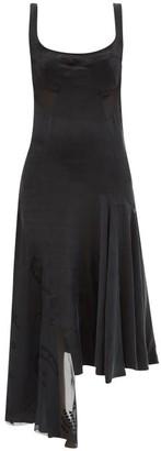 Marine Serre Asymmetrical Crescent Moon-applique Devore Dress - Black