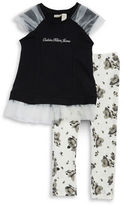 Calvin Klein Girls 2-6x Girls Tulle Accented Top and Leggings Set