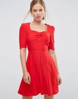 Asos Woven 3/4 Sleeve Tea Dress With Sweetheart Neckline