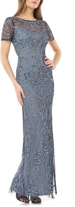 JS Collections Sequin Embroidered Column Gown