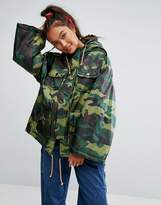 Asos Padded Camo Jacket With Sporty Ties