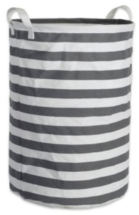 Design Imports Polyethylene Coated Cotton Polyester Laundry Hamper Stripe Round