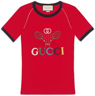 Gucci Ribbed T-shirt with Tennis