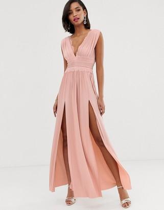 Asos Design DESIGN PREMIUM Lace Insert Pleated Maxi Dress-Pink