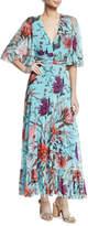 Fuzzi Botanical Floral V-Neck Long Dress
