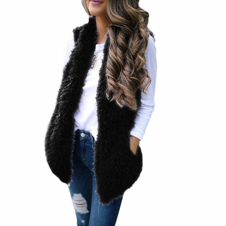 Thumbnail for your product : Ihaza Women Faux Fur Solid Sleeveless Waistcoat Ladies Pockets Warm Vest Coat
