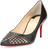 Christian Louboutin Baretta Studded Low-Heel Red Sole Pump, Black