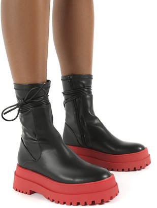 Public Desire Uk Finale Pu Red Chunky Sole Ankle Wrap Boots