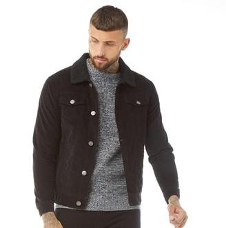 Brave Soul Mens Prestwich Borg Collar Cord Jacket Black