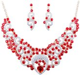 Fenteer Water-Drop Pendant Red Glass Diamond Golden Plated Chain jewelry set necklace earring for Women Girls Accessories Wedding Jewelry