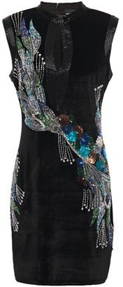 Just Cavalli Cutout Embellished Stretch-velvet Mini Dress