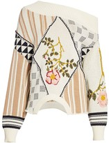 Monse Upside-Down Floral Intarsia Cotton Sweater