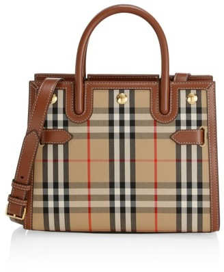 Burberry Mini Title Vintage Check Leather Satchel
