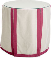 One Kings Lane Collection Eden Round Skirted Table, Oatmeal/Mauve