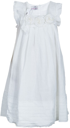 Ermanno Scervino Girls White Rosette Detail Linen Dress 6 Yrs