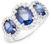 Effy Ceylon Sapphire Ring with Diamonds in 14 Kt. White Gold