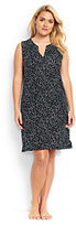 Classic Women's Plus Size Cotton Jersey Sleeveless Cover-up-Black Scatter Dots