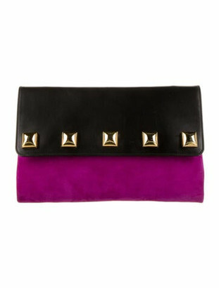 Marc Jacobs Suede Flap Clutch Purple