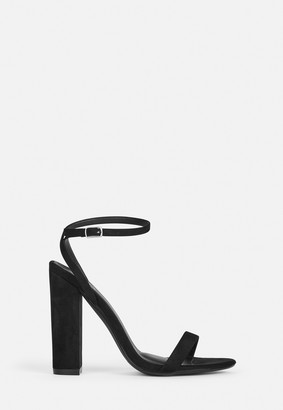 Missguided Black Faux Suede Heel Sandals