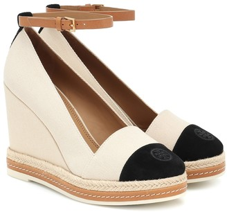 Tory Burch Suede-trimmed espadrille wedges