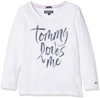 Tommy Hilfiger Girl's AME Logo Cn Knit L/s Long Sleeve Top