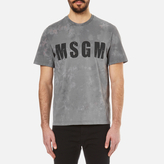 Msgm Patterned Chest Logo Tshirt - Grey