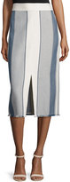 Lafayette 148 New York Adelina Striped Pencil Skirt W/ Fringe Hem