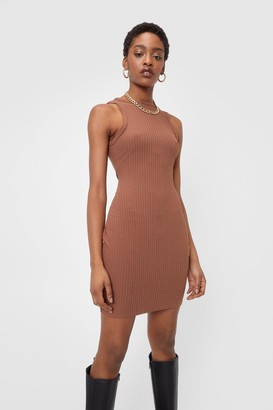Nasty Gal Womens Ribbed Fitted Racerback Mini Dress - Chocolate