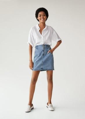 MANGO Paper bag denim skirt medium blue - XS - Women