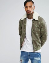 Asos Bomber Jacket With Borg Collar In Camo