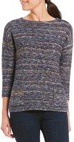 Leo & Nicole Petites 3/4 Sleeve Waterport Yarn Ottoman Stitch Sweater