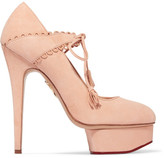 Charlotte Olympia Ophelia Suede Pumps - Blush