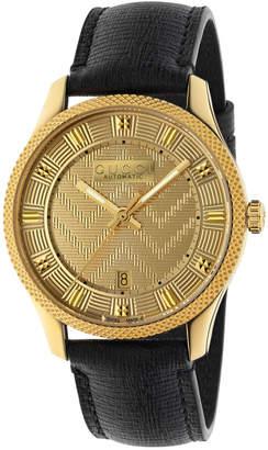Gucci Men's Automatic Chevron-Dial Watch w/ Leather Strap