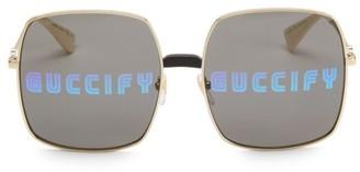 Gucci 60MM Guccify Unisex Square Sunglasses