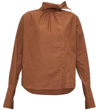Fendi High-neck Cotton-poplin Blouse - Womens - Brown