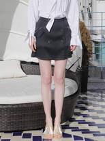 Wardrobe Double Button Mini Skirt_black