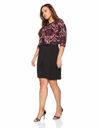 Danny And Nicole Danny & Nicole Women's Plus Size Two Piece 3/4 Sleeve JKT & Round Neck 2fer Dress