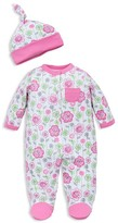 Offspring Girls' Floral Footie & Hat Set - Baby