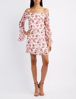 Charlotte Russe Floral Off-The-Shoulder Ruffle Sleeve Dress