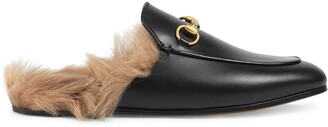 Gucci Black Princetown leather fur lined mules
