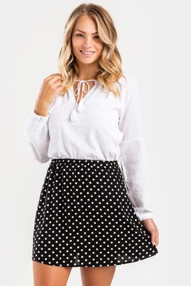 francesca's Kamryn Polka Dot Mini Skirt - Black