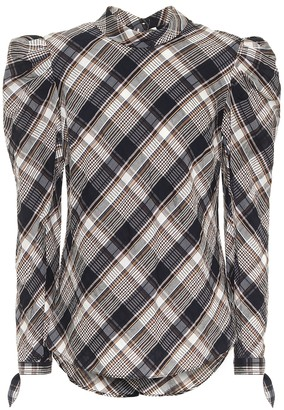 Veronica Beard Isabel checked cotton-blend blouse