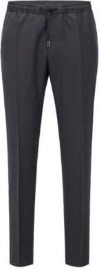 HUGO BOSS Slim Fit Pants In Virgin Wool With Drawstring Waist - Dark Grey