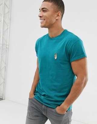 New Look t-shirt with peace embroidery in blue