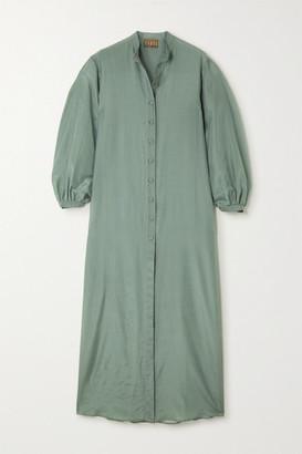 ALBUS LUMEN Levitas Cotton And Silk-blend Maxi Dress - Green