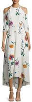 Tibi Bella Floral Silk Cold-Shoulder Midi Dress, Opal/Beige