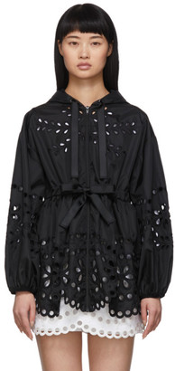 RED Valentino Black Nylon Belted Coat