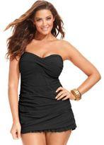 Gottex Profile by Plus Size Tummy-Control Ruched Ruffled Swimdress