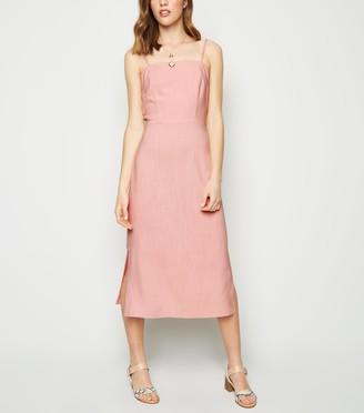 New Look Linen Look Tie Back Midi Dress